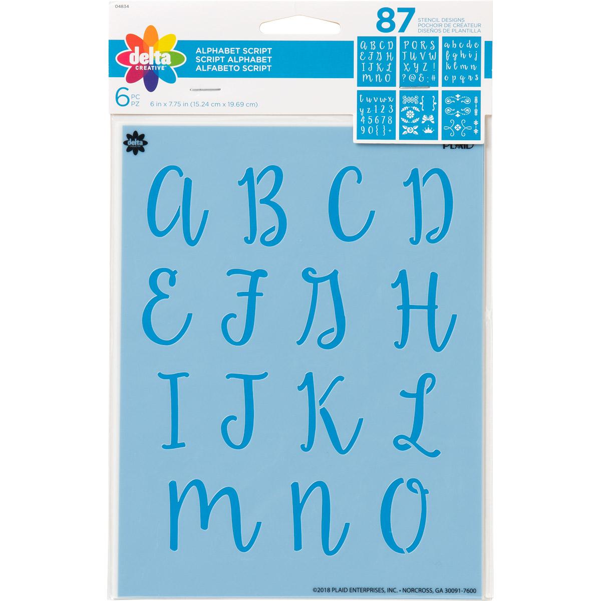 Delta Creative™ Stencil - Alphabet Script - 04834