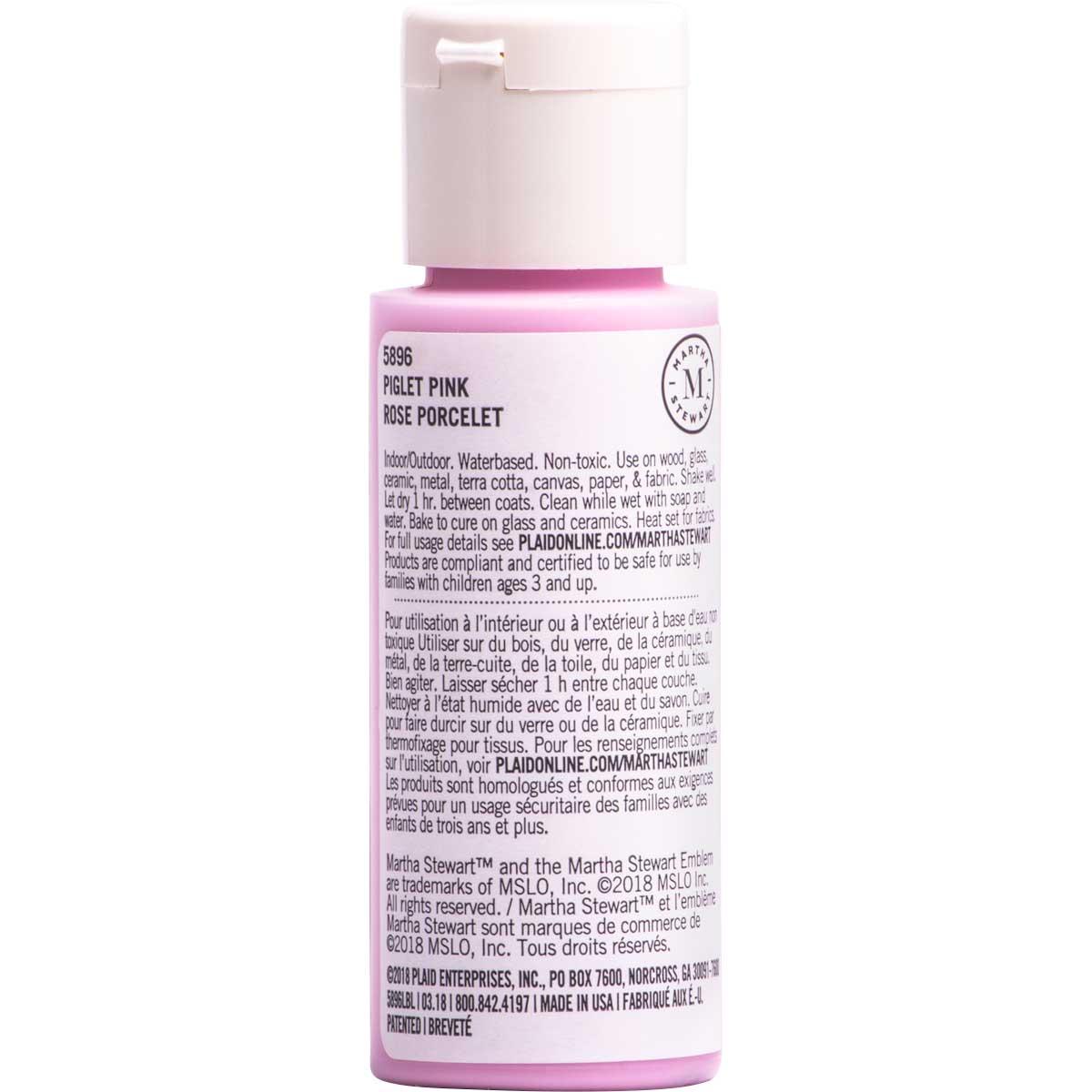 Martha Stewart ® Multi-Surface Satin Acrylic Craft Paint CPSIA - Piglet Pink, 2 oz. - 5896