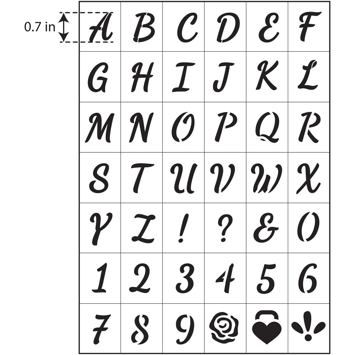 FolkArt ® Peel & Stick Painting Stencils™ - Script Font Alphabet - 63290E