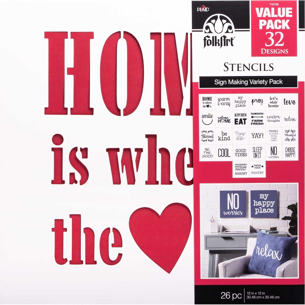 FolkArt ® Stencil Value Packs - Sign Making, 12