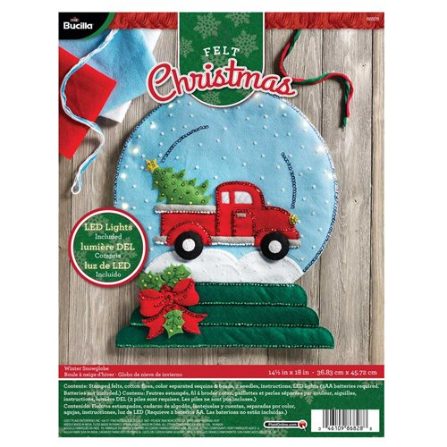 Bucilla ® Seasonal - Felt - Home Decor - Winter Snowglobe Wall Hanging with Lights - 86828