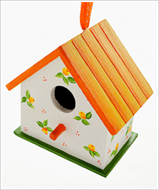 Simple Flower Bud Wood Birdhouse