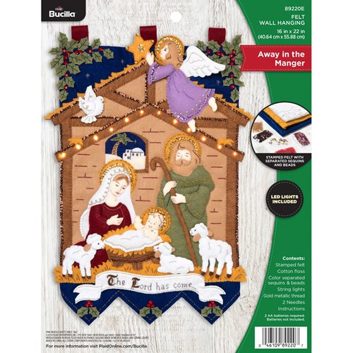 Bucilla ® Seasonal - Felt - Home Decor - Away in the Manger Wall Hanging with Lights - 89220E
