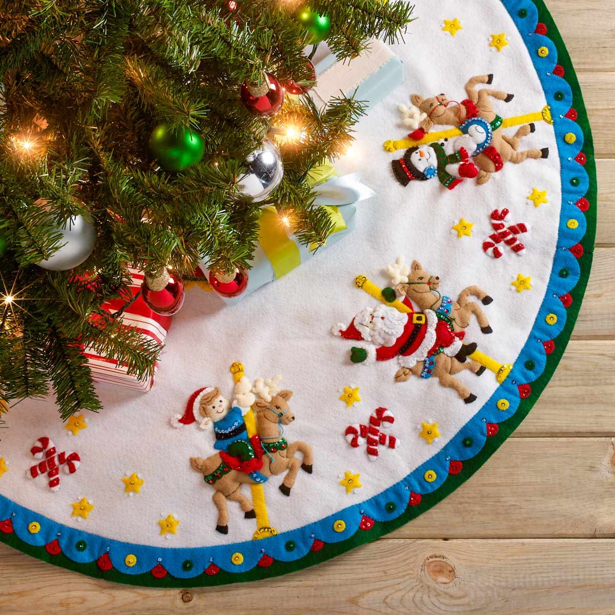 Bucilla ® Seasonal - Felt - Tree Skirt Kits - Carousel Santa - 86951E