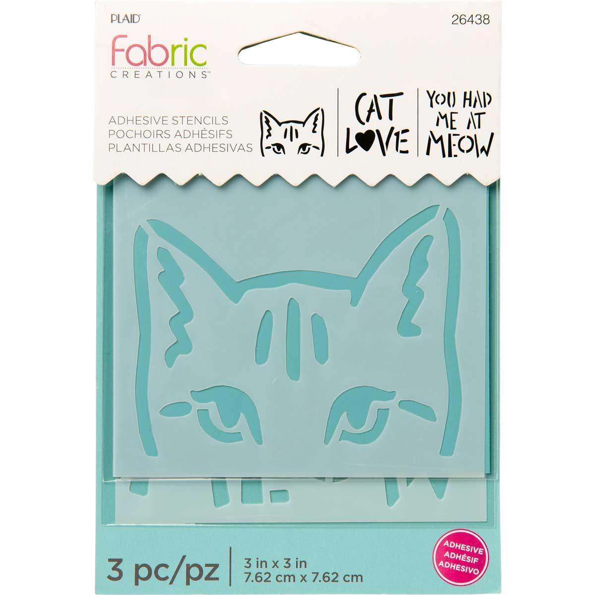 Fabric Creations™ Adhesive Stencils - Mini - Cat, 3