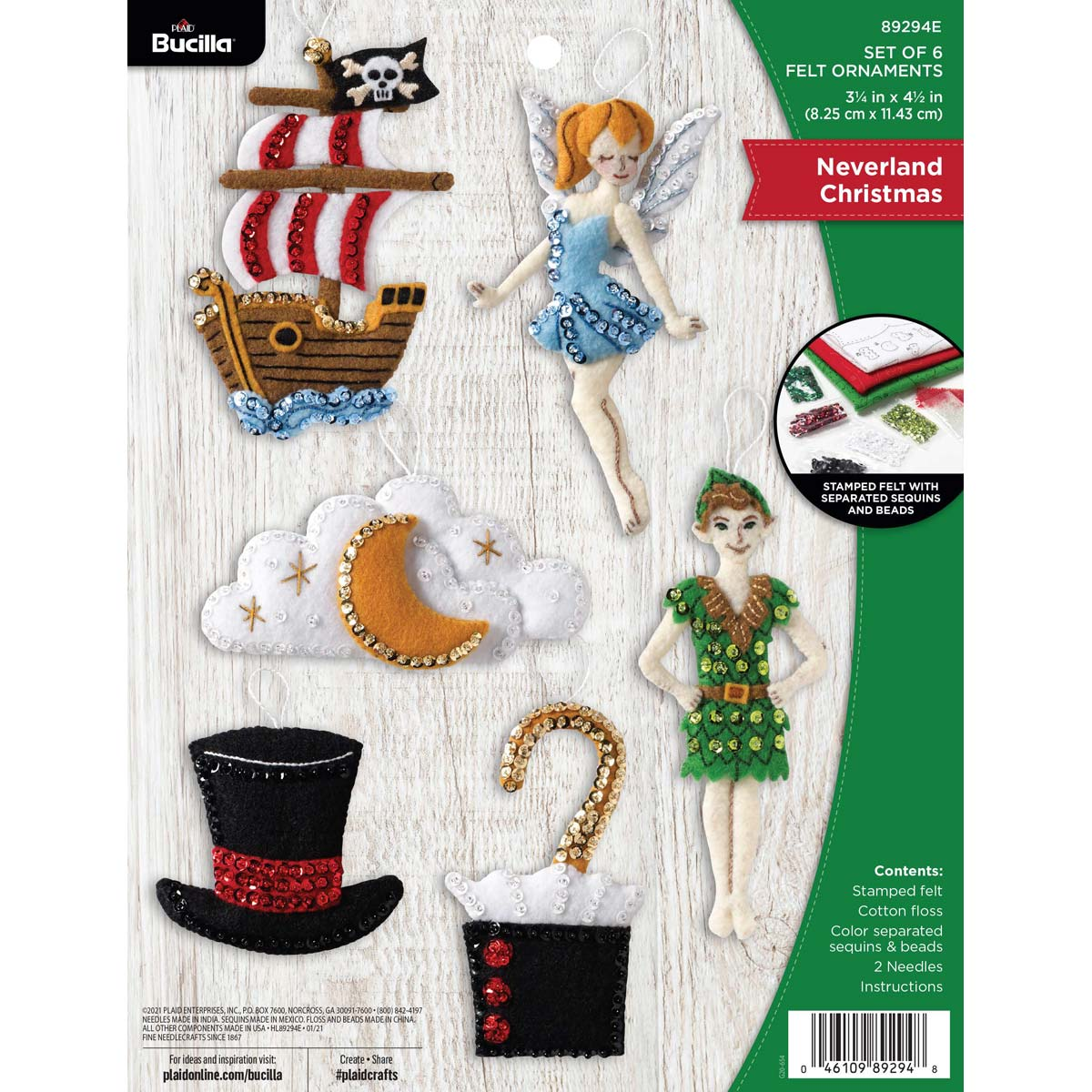 Bucilla ® Seasonal - Felt - Ornament Kits - Neverland Christmas - 89294E