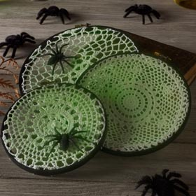 Spider Web Doilies Halloween Decorations