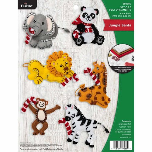 Bucilla ® Seasonal - Felt - Ornament Kits - Jungle Santa - 89268E