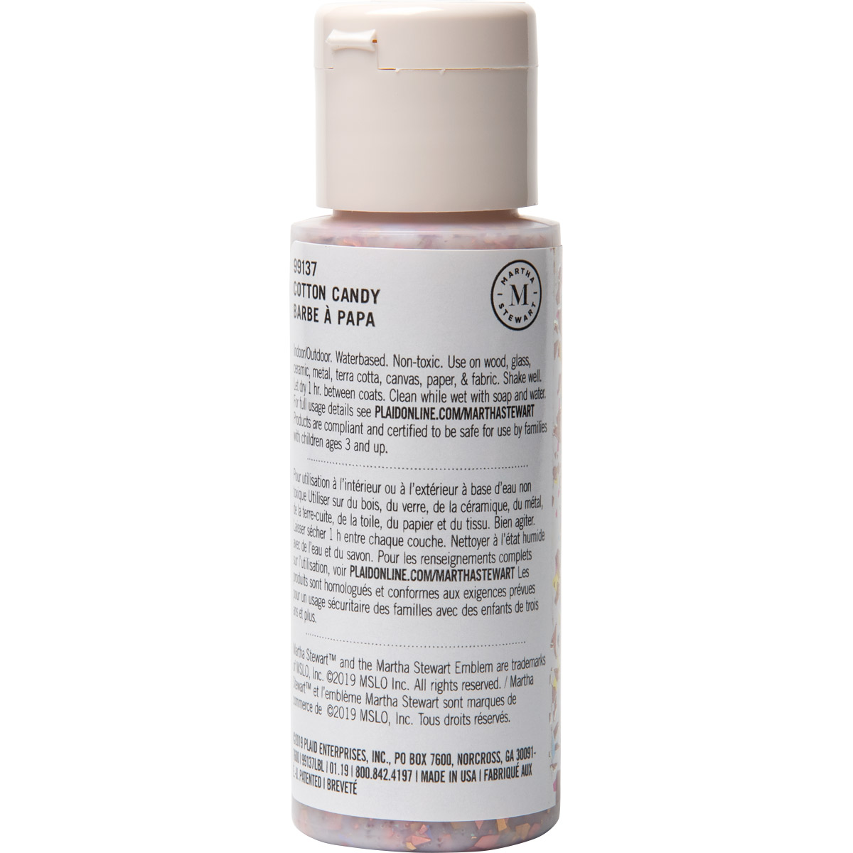 Martha Stewart ® Multi-Surface Vintage Leaf Glitter Acrylic Craft Paint CPSIA - Cotton Candy, 2 oz.