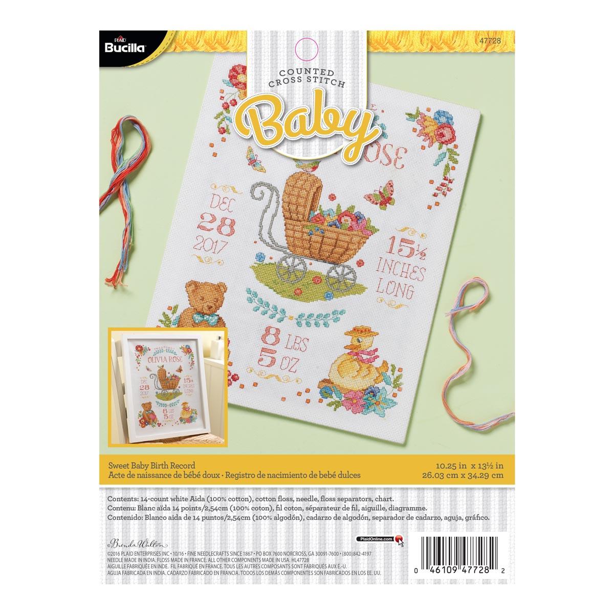 Bucilla ® Baby - Counted Cross Stitch - Crib Ensembles - Sweet Baby - Birth Record Kit