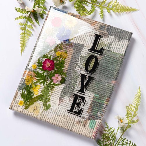 """Love"" Resin Newspaper Canvas"