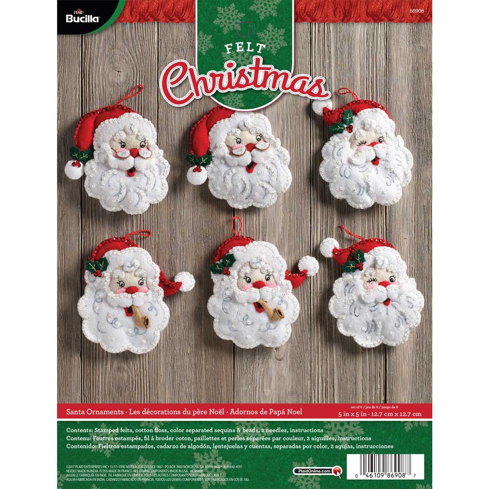 bucilla seasonal felt ornament kits santa - Christmas Decoration Kits