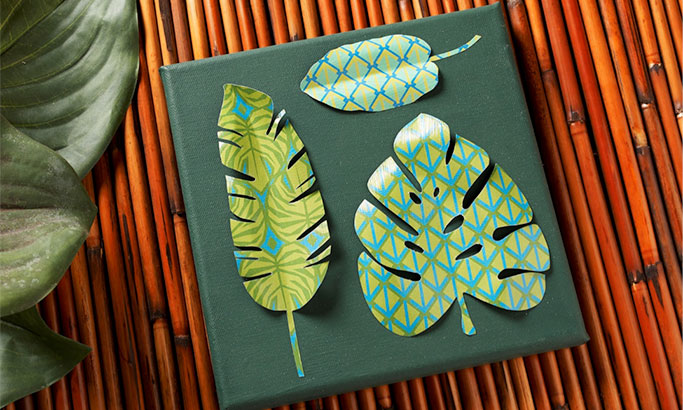 Paper Collage Art - Colorful Tropical Leaf