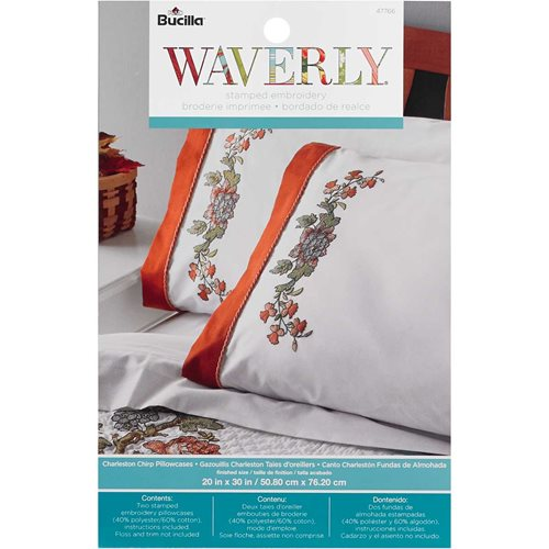Bucilla ® Waverly ® Charleston Chirp Collection Stamped Pillowcase Pair - 47766