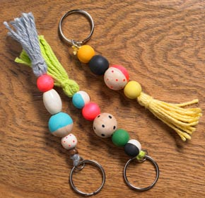 Craft Ideas for Kids - Wooden Bead Keychains
