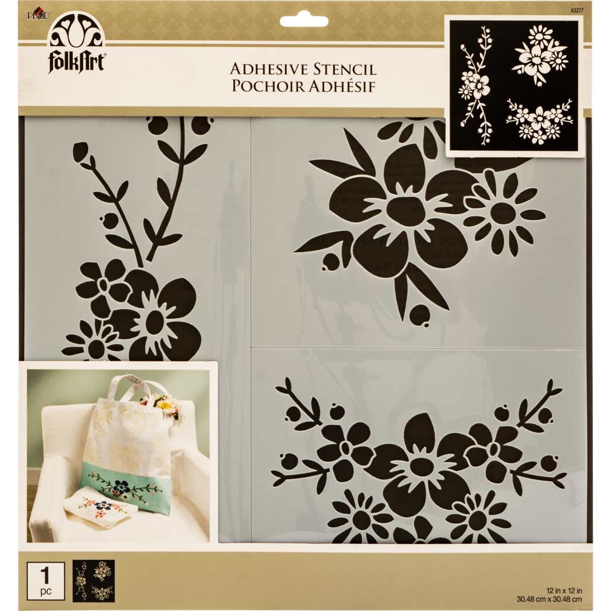Folkart Painting Stencils Adhesive Laser Floral Spray