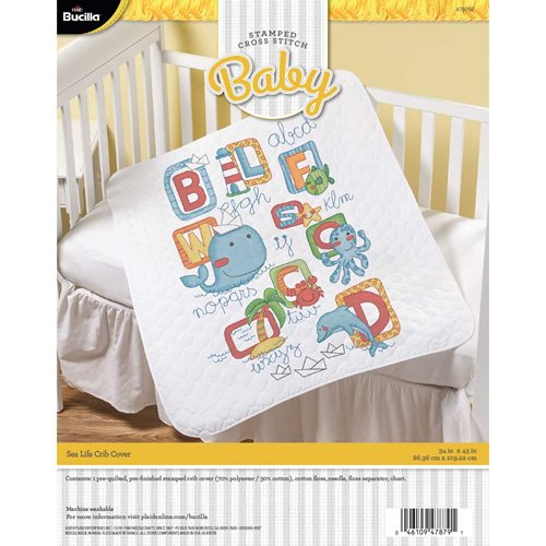 Bucilla ® Baby - Stamped Cross Stitch - Crib Ensembles - Sea Life - Crib Cover