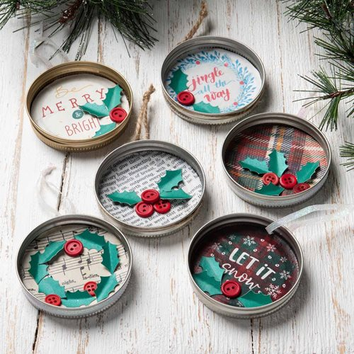 Cheerful Mason Jar Lid Ornaments