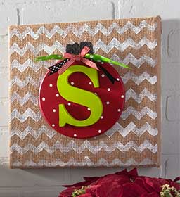 Burlap Canvas with Christmas Ornament