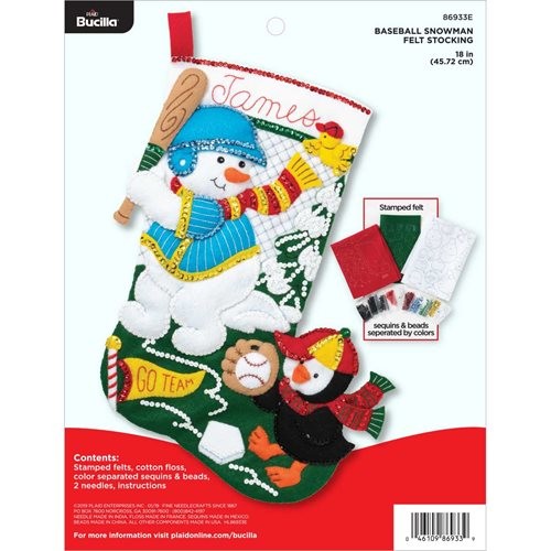 Bucilla ® Seasonal - Felt - Stocking Kits - Baseball Snowman - 86933E