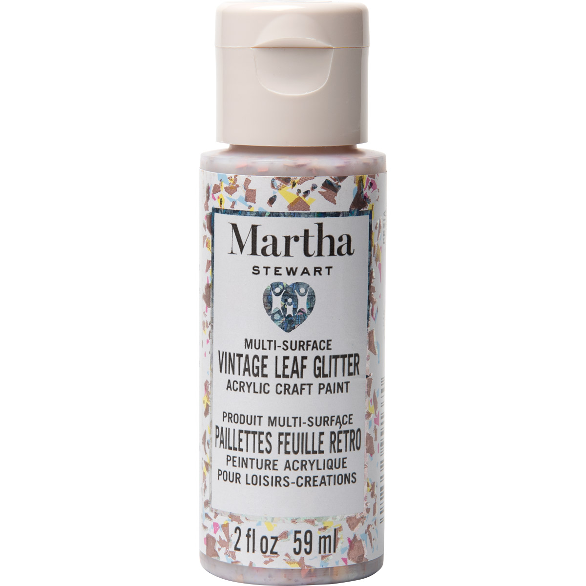Martha Stewart® 2oz Multi-Surface Vintage Leaf Glitter Acrylic Craft Paint - Cotton Candy