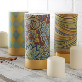 Votives with Decoupaged Napkins