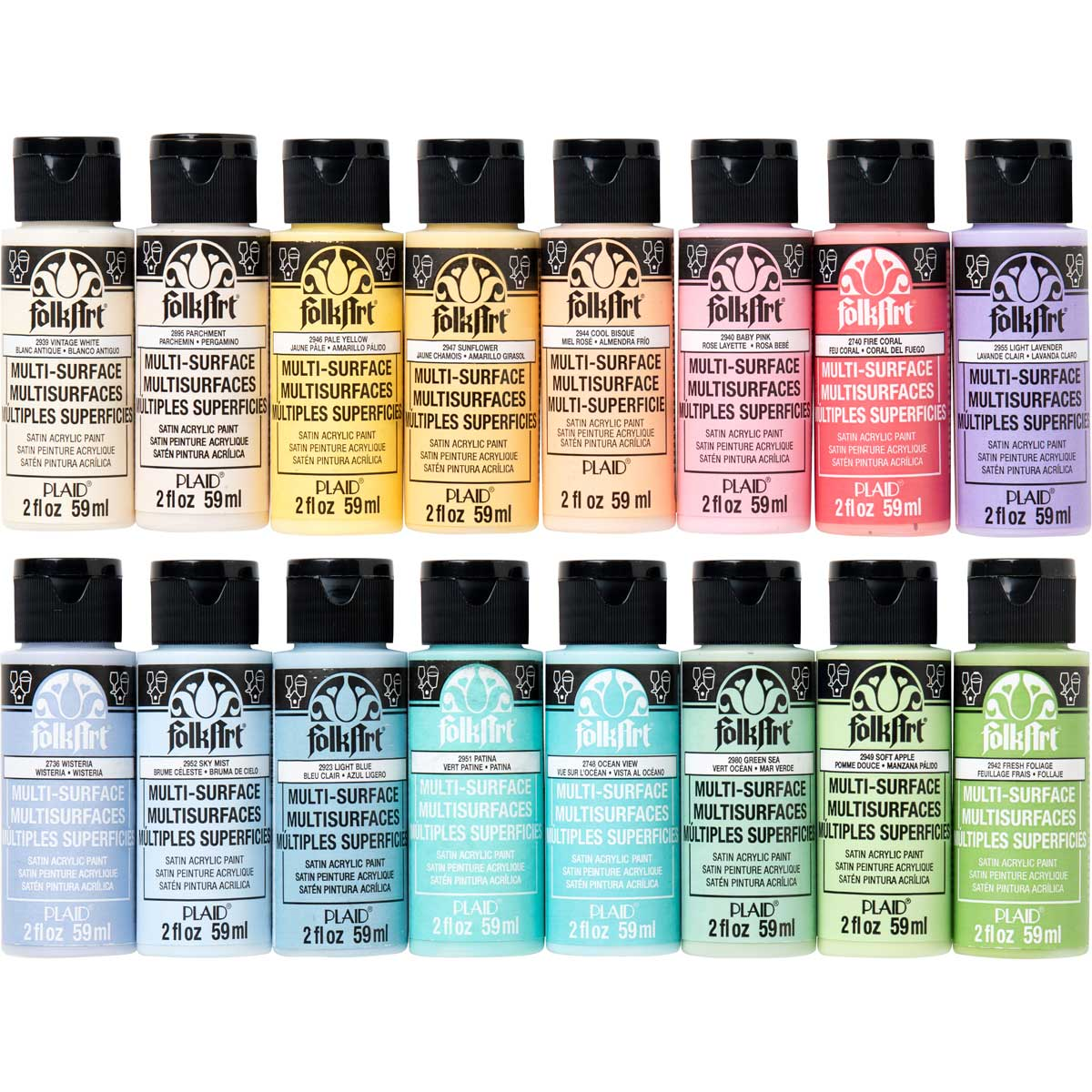 FolkArt ® Multi-Surface Satin Acrylic Paint 16 Color Set - Pastels