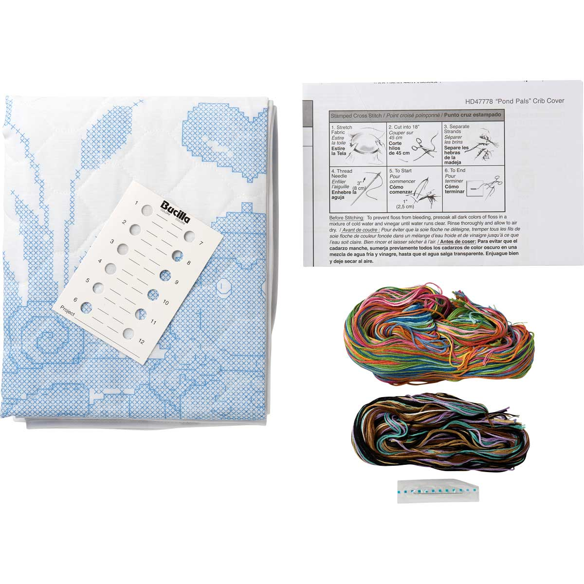 Bucilla ® Baby - Stamped Cross Stitch - Crib Ensembles - Pond Pals - Crib Cover