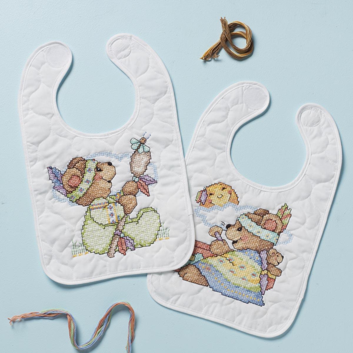 Bucilla ® Baby - Stamped Cross Stitch - Crib Ensembles - Tee Pee Bears Bib Pair Kit