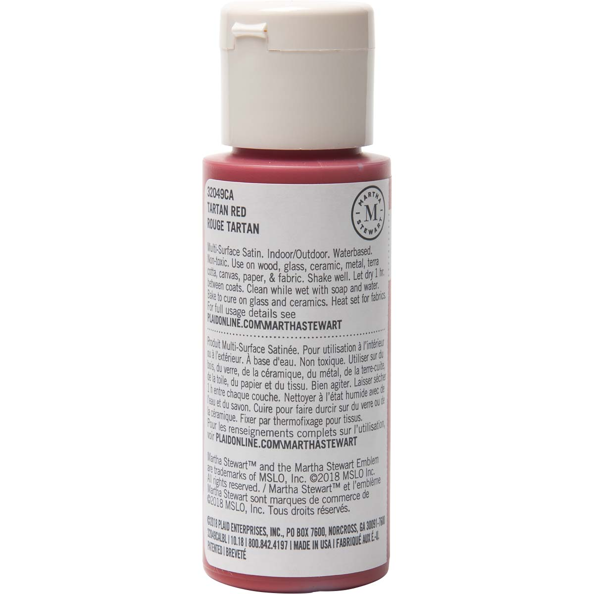 Martha Stewart ® Multi-Surface Satin Acrylic Craft Paint - Tartan Red, 2 oz.