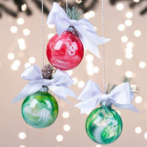 Poured Ornaments with Monogram