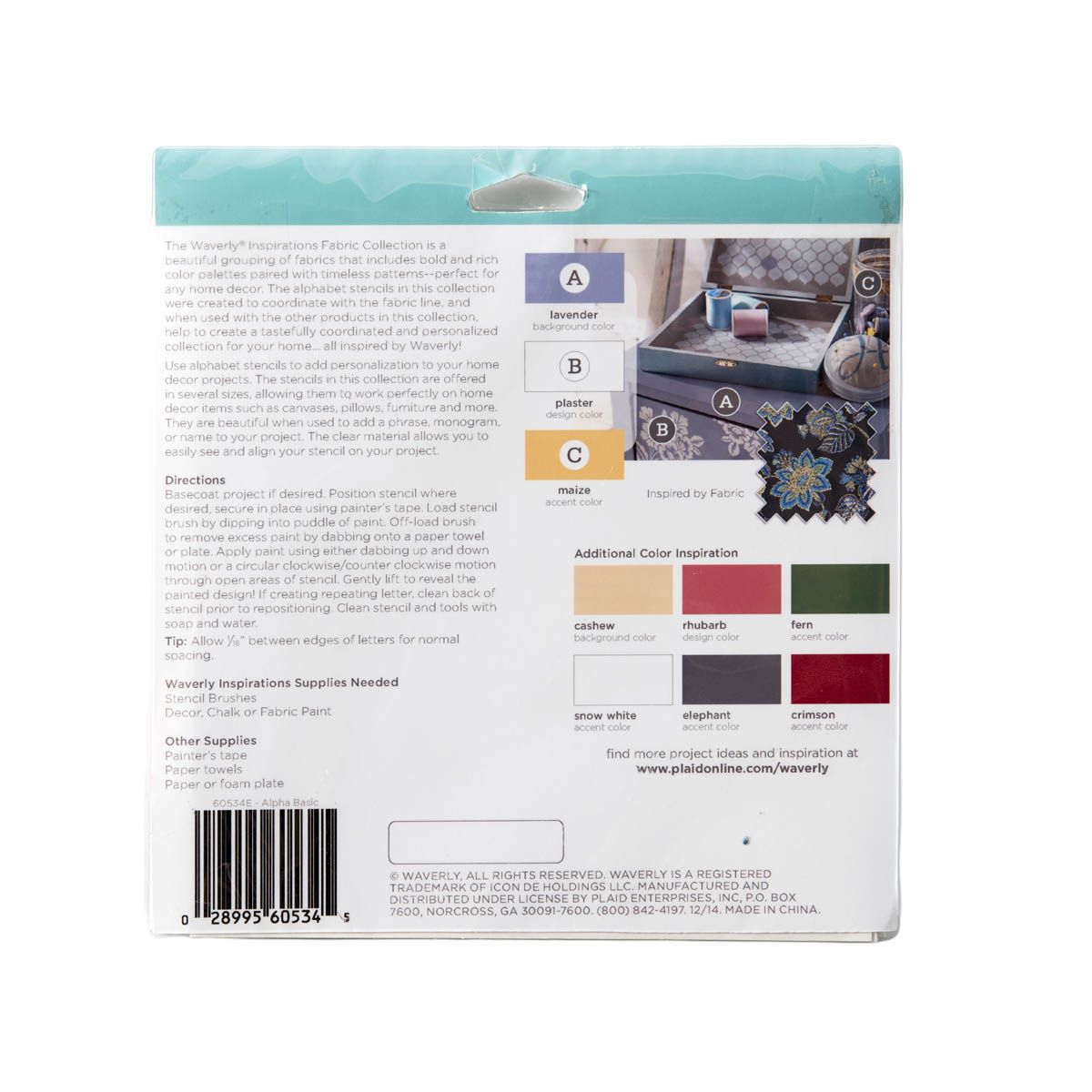 Waverly ® Inspirations Stencils - Accent - Alpha Basic, 6