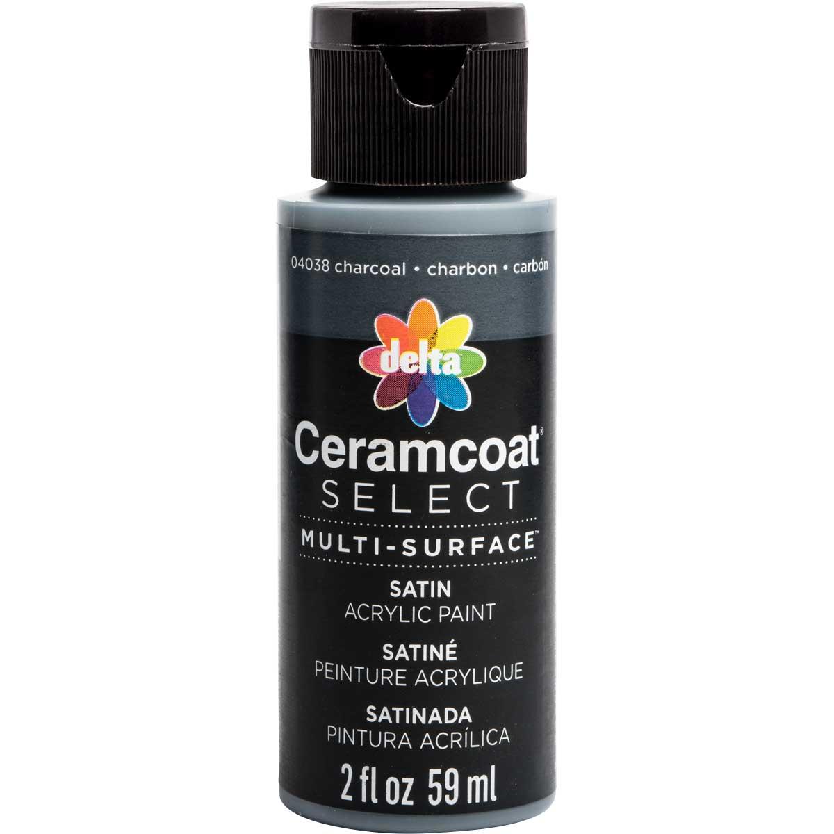 Delta Ceramcoat ® Select Multi-Surface Acrylic Paint - Satin - Charcoal, 2 oz. - 04038
