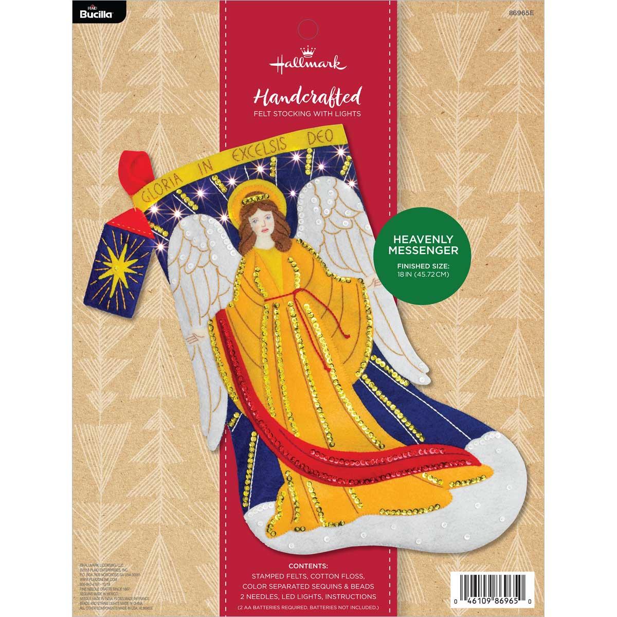 Bucilla ® Seasonal - Felt - Stocking Kits - Hallmark - Heavenly Messenger with Lights - 86965E