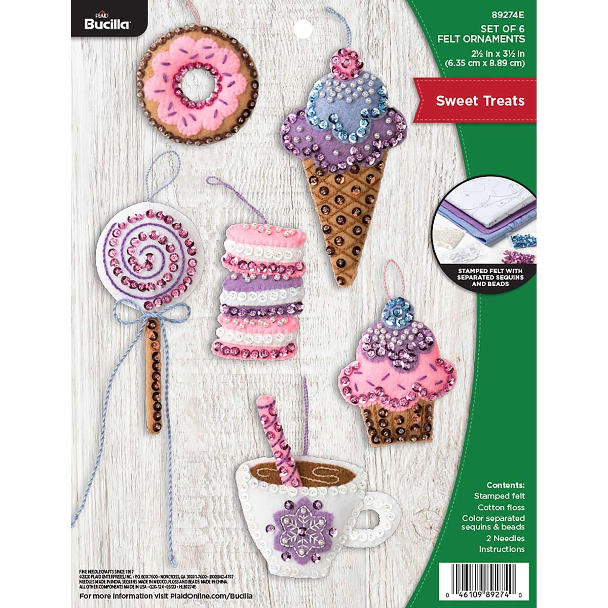 Bucilla ® Seasonal - Felt - Ornament Kits - Sweet Treats - 89274E