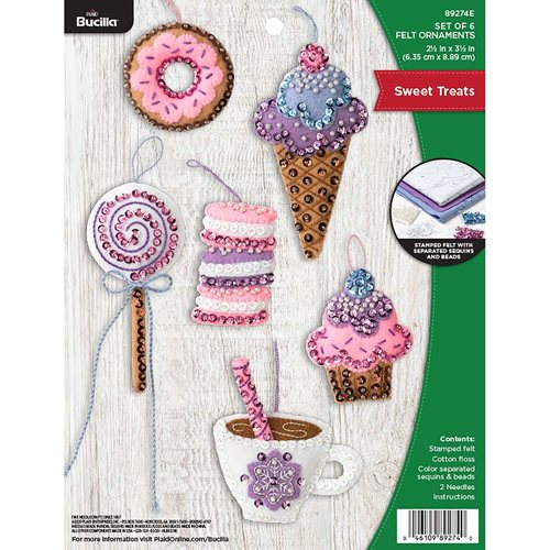 Bucilla ® Seasonal - Felt - Ornament Kits - Sweet Treats - 89274E