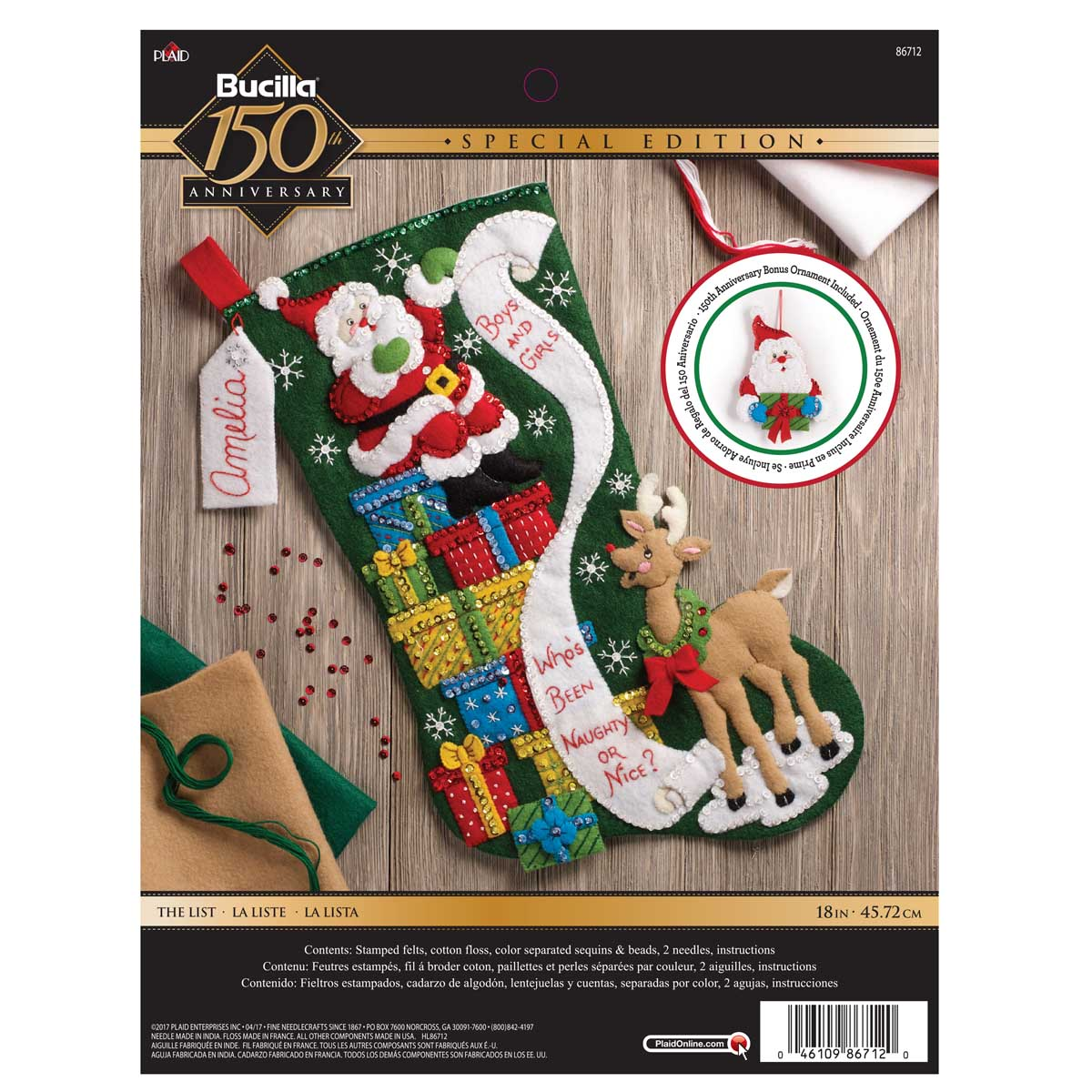 Bucilla ® Seasonal - Felt - Stocking Kits - The List - 86712
