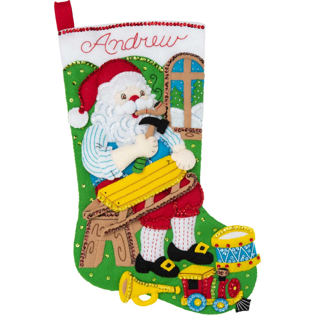 Bucilla ® Seasonal - Felt - Stocking Kits - Woodworking Santa - 86938E