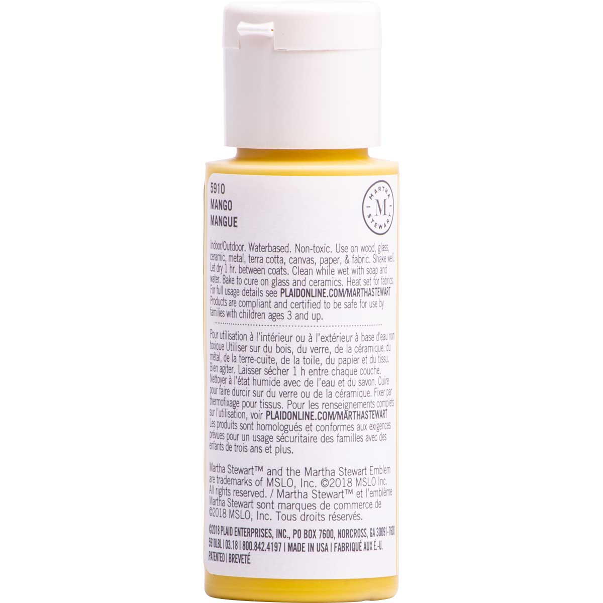 Martha Stewart ® Multi-Surface Satin Acrylic Craft Paint CPSIA - Mango, 2 oz. - 5910