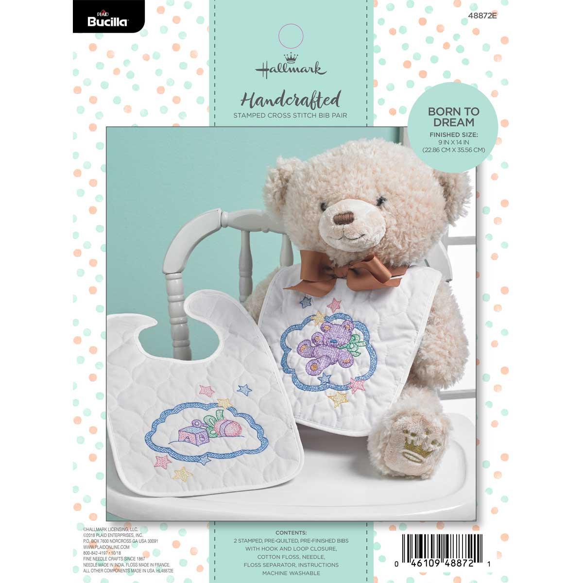 Bucilla ® Baby - Stamped Cross Stitch - Crib Ensembles - Hallmark - Born to Dream - Bib Pair Kit