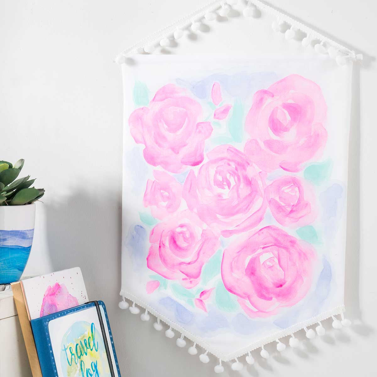 Watercolor Acrylic Rose Banner