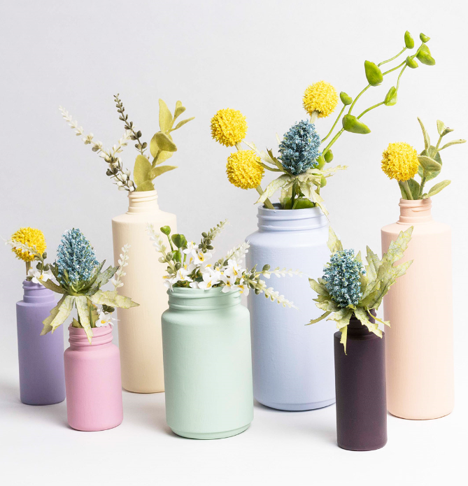 Recycled Pastel Painted Bottles