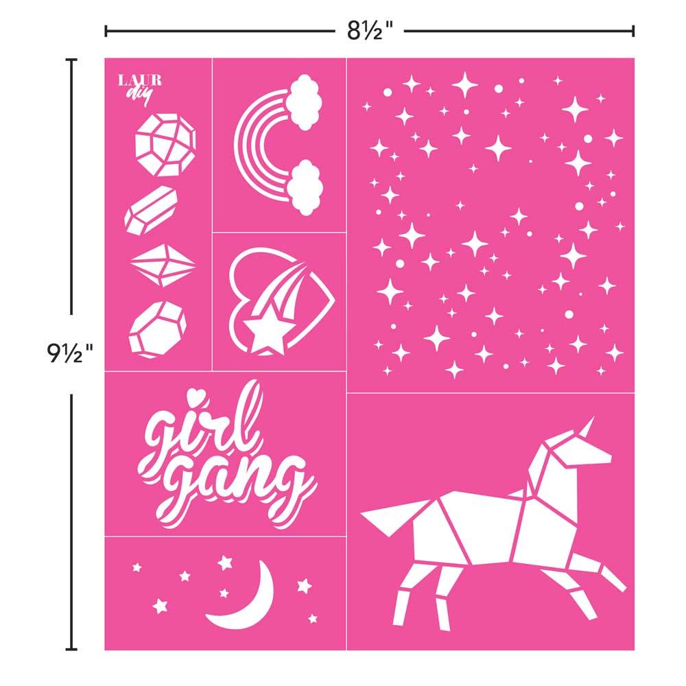 LaurDIY ® Peel & Stick Stencils - Large - Unicorn Whimsy
