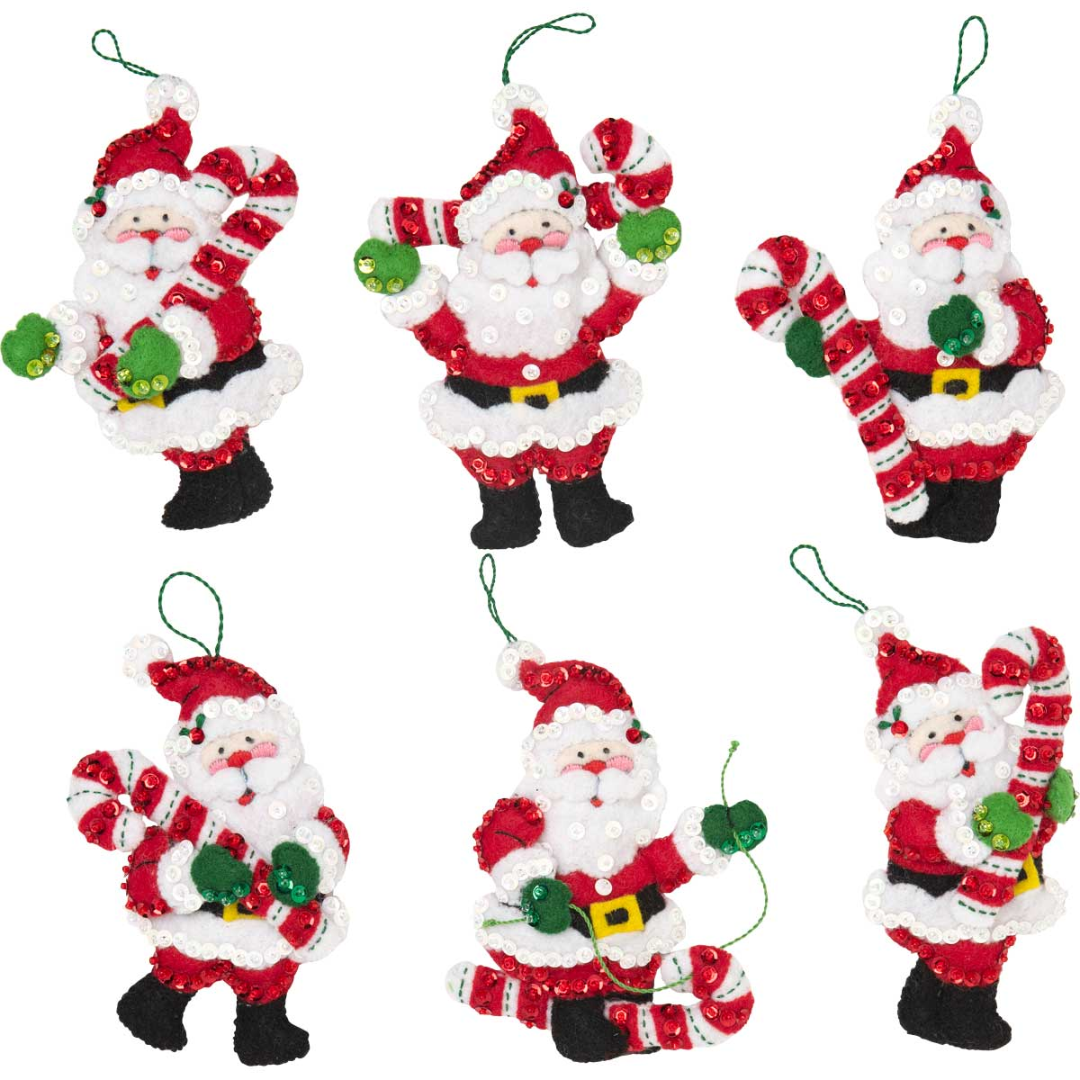 Bucilla ® Seasonal - Felt - Ornament Kits - Candy Cane Santas