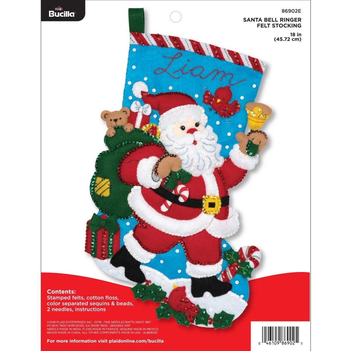 Bucilla ® Seasonal - Felt - Stocking Kits - Santa Bell Ringer