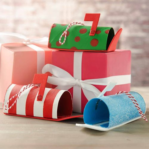 Repurposed Wrapping Paper Tube Mailbox Ornament Set