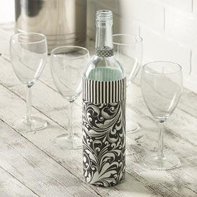 Decoupaged Napkin Wedding Wine Bottle