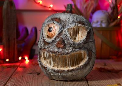 Unique Halloween Pumpkin - Scary Concrete Pumpkin