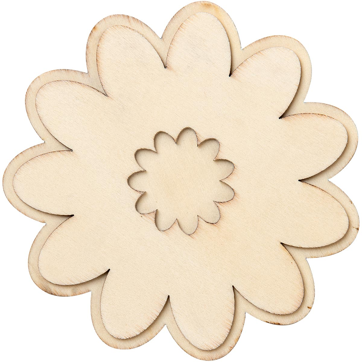 Plaid ® Wood Surfaces - Unpainted Layered Shapes - Fun Flower - 44999