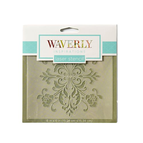 "Waverly ® Inspirations Laser Stencils - Accent - Damask Floral, 6"" x 6"""
